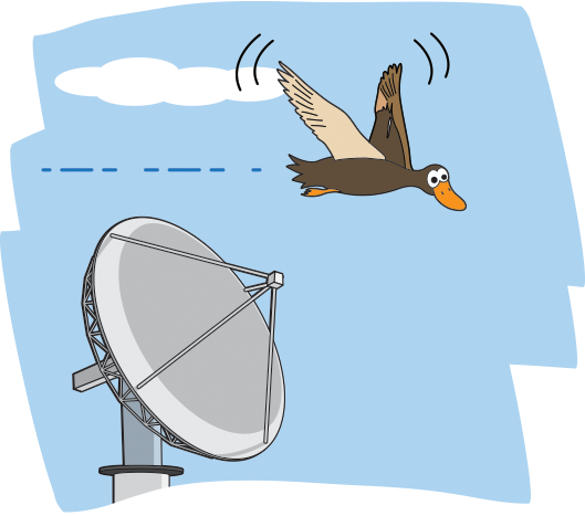 a cartoon of a bird flying over a radar dish