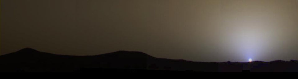 The blue-tinted Martian sky at sunset.