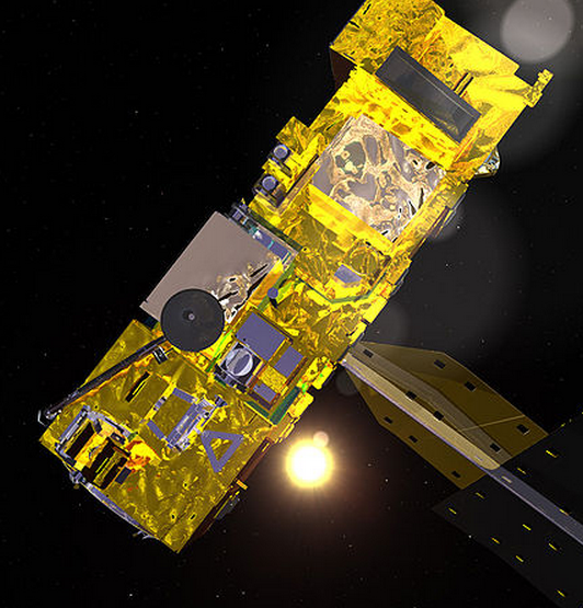 computer-generated image of the Aqua satelite.