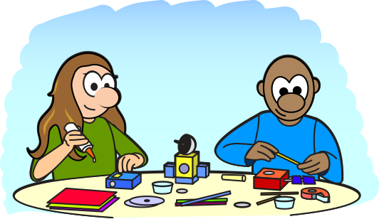 cartoon of two kids building a model of a satellite