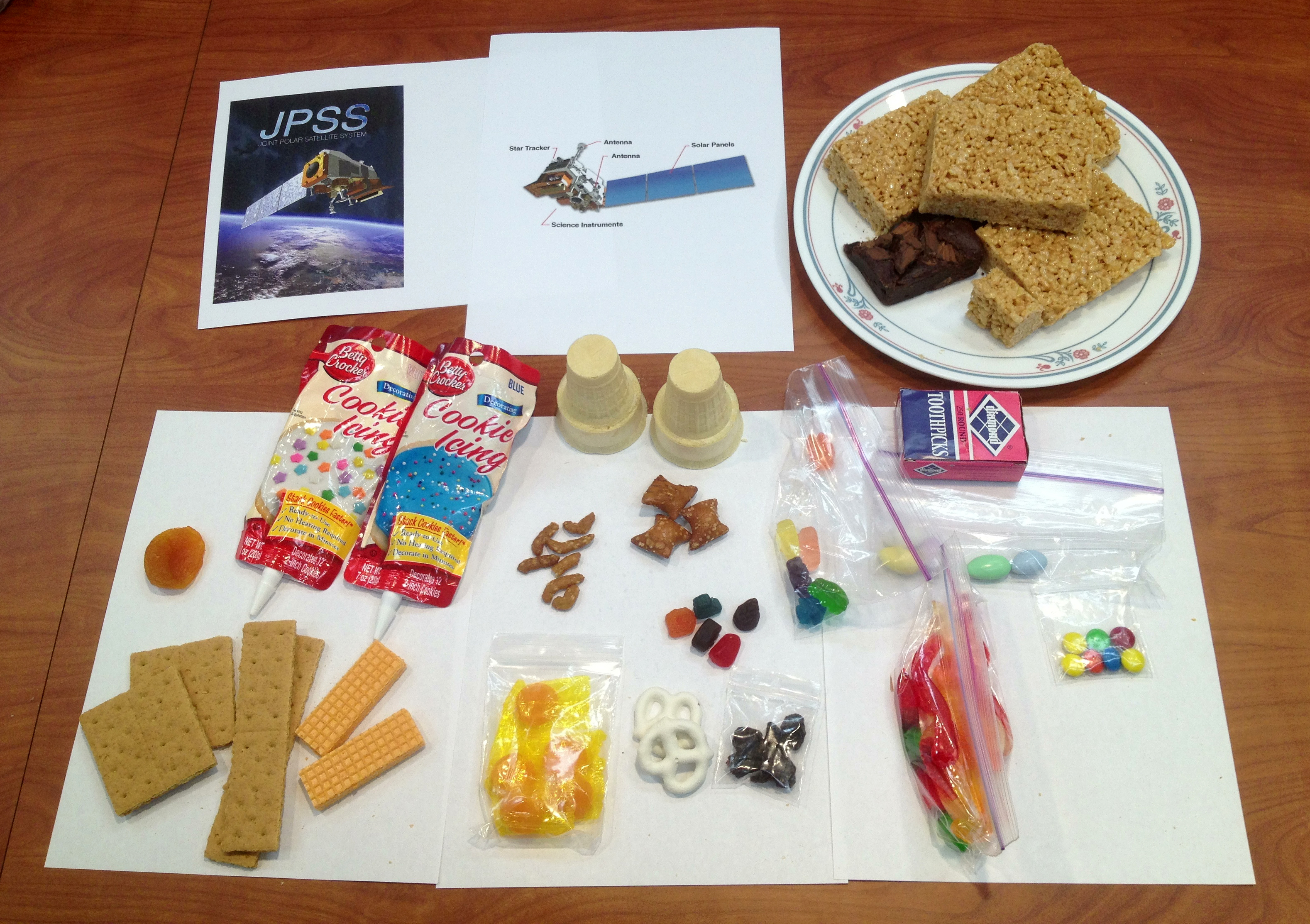 a picture of the described ingredients for an edible satellite model