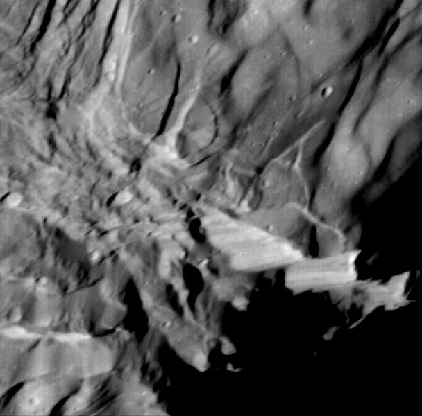 NASA close-up of Verona Rupes.