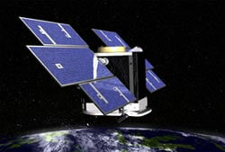 Artist rendering of CloudSat spacecraft in orbit.