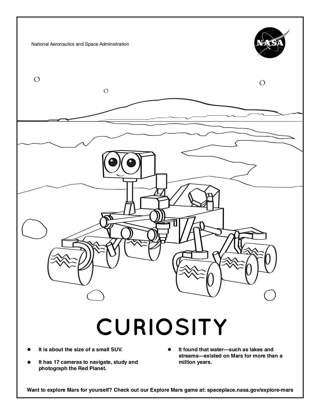 Coloring page for Curiosity.