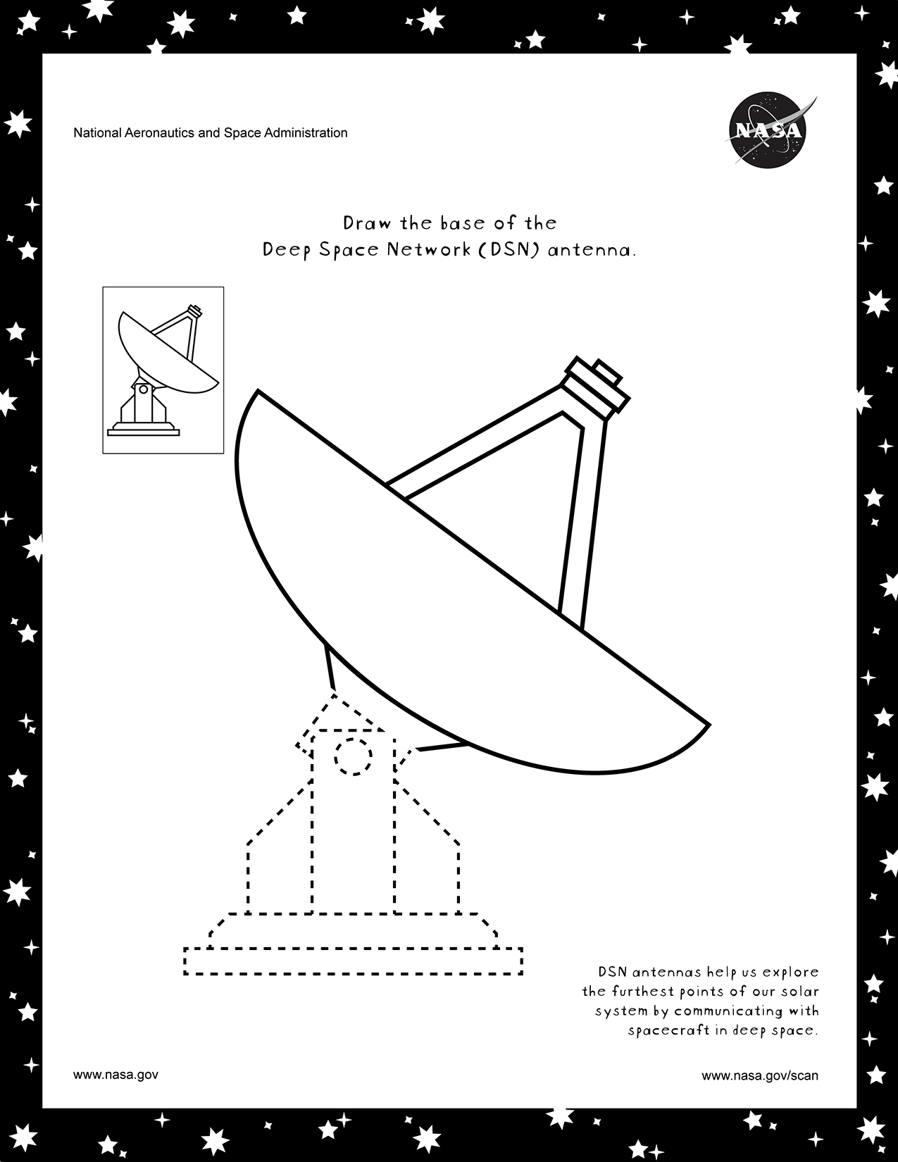 Coloring page for the DSN.