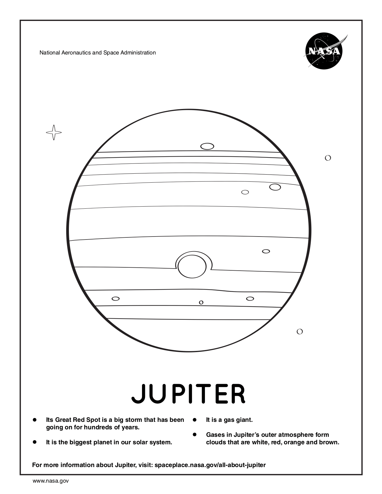 Coloring page for Jupiter.