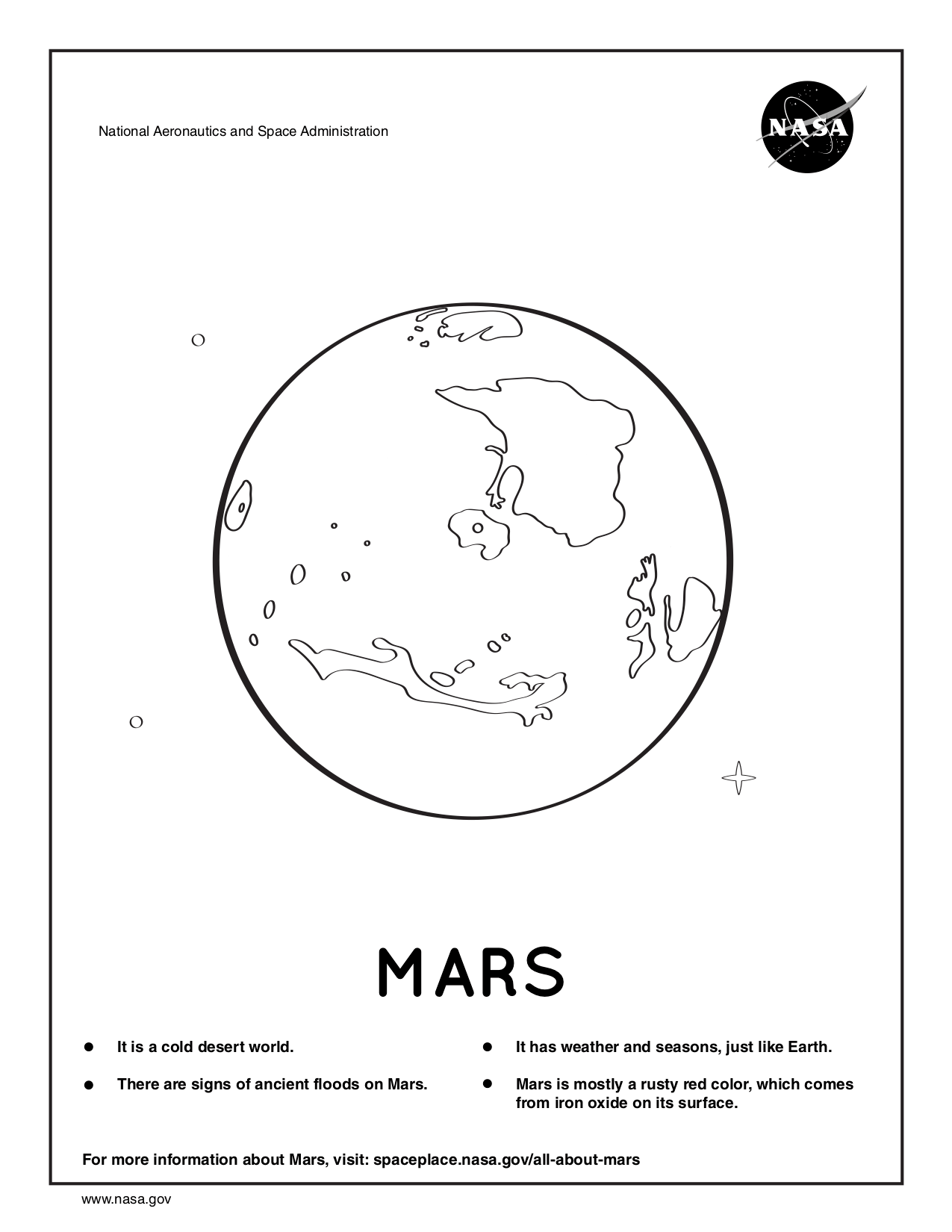 Coloring page for Mars.