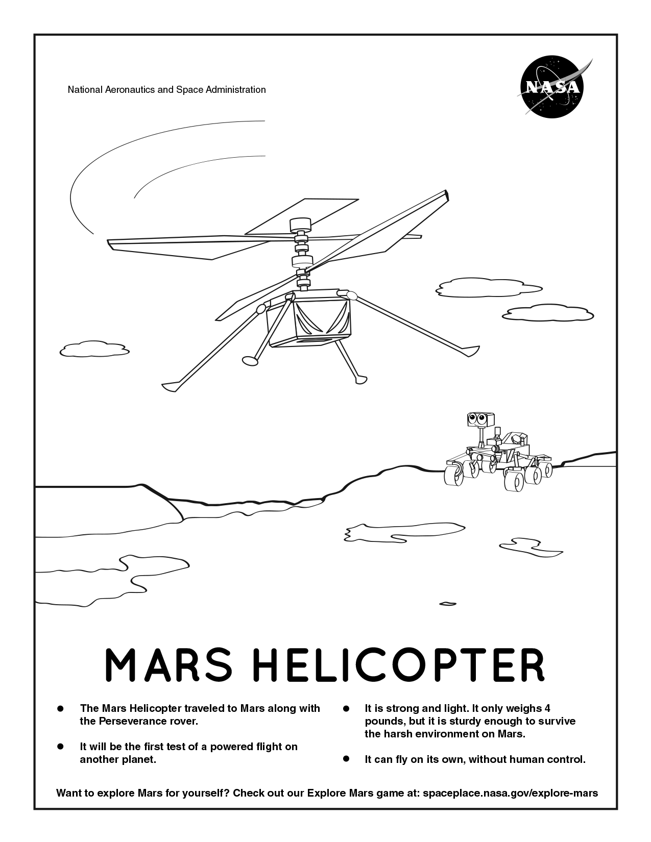Coloring page for Mars Helicopter.