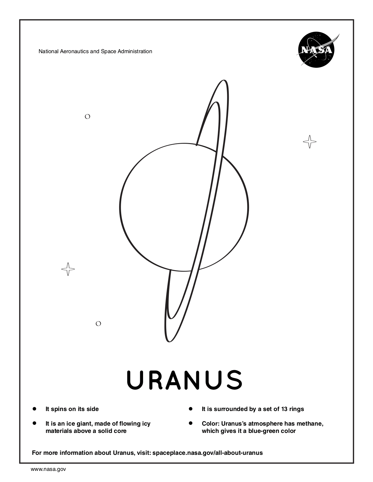 Coloring page for Uranus.