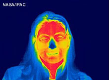 Woman's face in infrared.