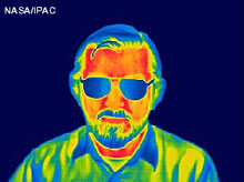 Man's face in infrared.