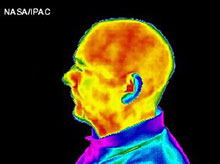 Man's face in infrared, side view.
