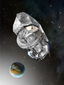 Artwork of Herschel Space Observatory, with Earth in the background.