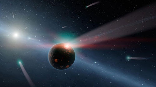 Artwork showing planet with several comets on a collision course.