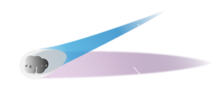 a diagram of a comet with the coma and nucleus labeled on the head, and the tail labeled with gas tail and dust tail.