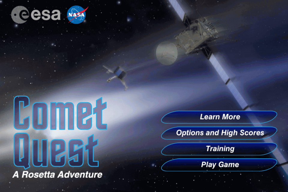 the logo for the game Comet Quest