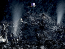 Artwork of Rosetta approaching the comet.