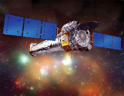 Large rendering of Chandra X-ray Observatory in space.