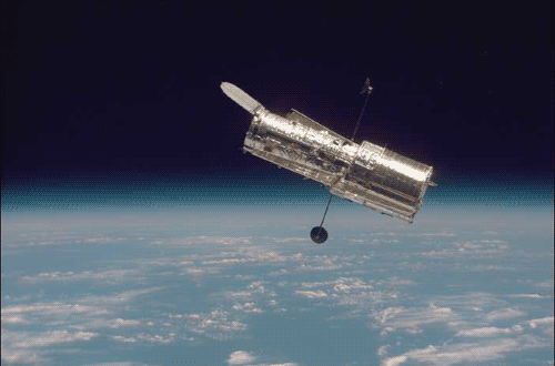 Large rendering of Hubble telescope.