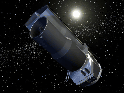 Large rendering of Spitzer Space Telescope in space.
