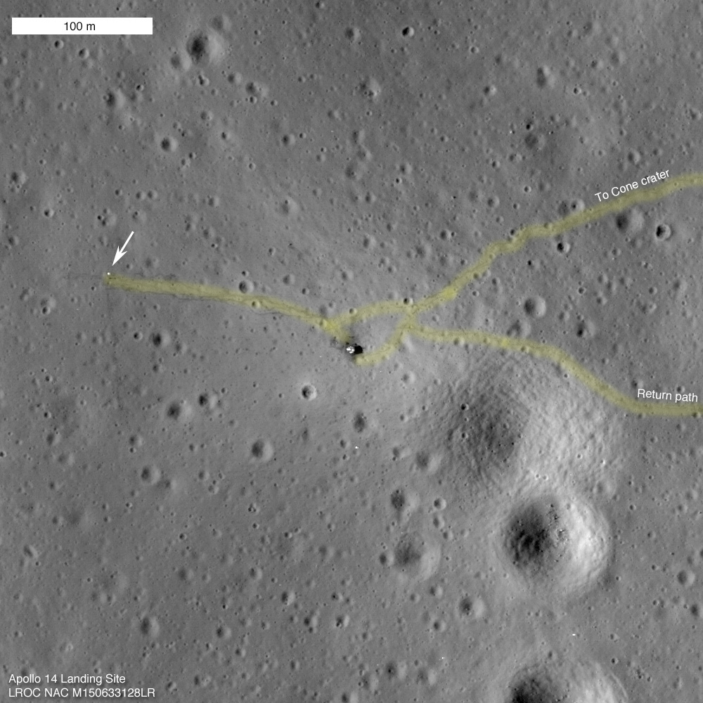 Picture of Apollo 14 landing site taken by LRO