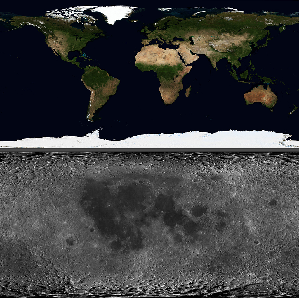 Flat projections of the surface of the Earth and the Moon.
