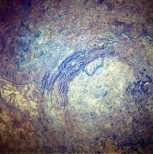 ariel photograph of Vredefort crater.