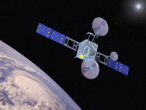 Artist's rendering of Earth Observing 3 spacecraft orbiting Earth.