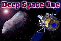 Artist's concept, Deep Space 1 spacecraft near asteroid.