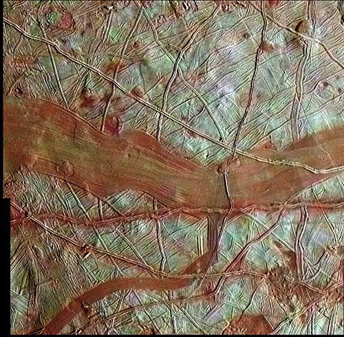 Close up image of Europa's surface.