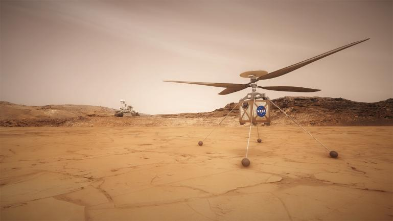 Artist concept shows the Mars Helicopter which will travel with NASA's Perseverance rover.