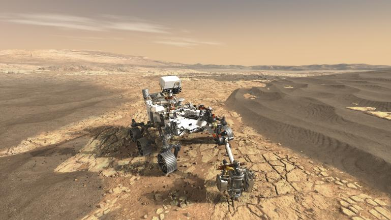 Artist's concept depicting NASA's Perseverance rover on the surface of Mars.