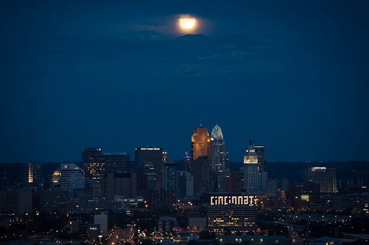 A blue moon seen over Cincinnati.