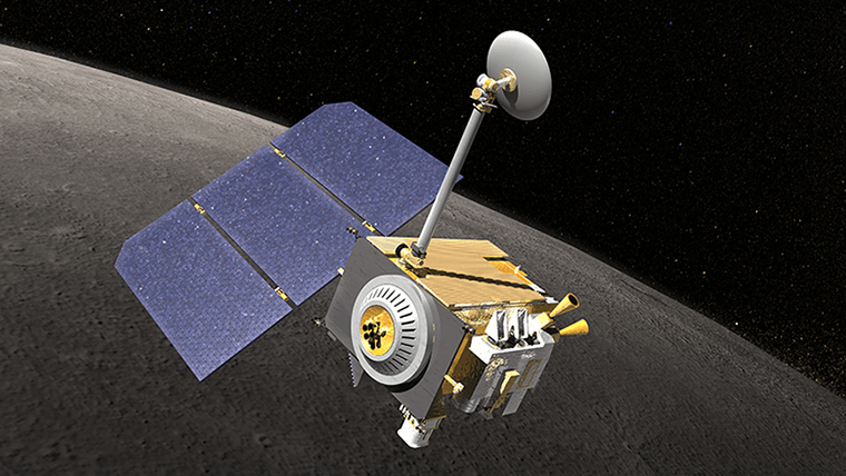 An illustration of NASA's Lunar Reconnaissance Orbiter (LRO).