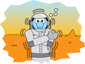 Shivering astronaut on Mars (cartoon).