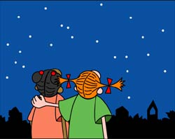 Two cartoon girls watch the night sky.