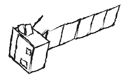 a drawing of a simplified spacecraft