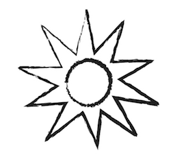 a drawing of a sun