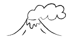 a drawing of a volcano