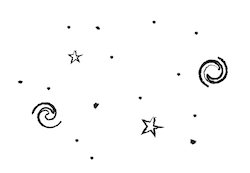 a drawing of stars and galaxies