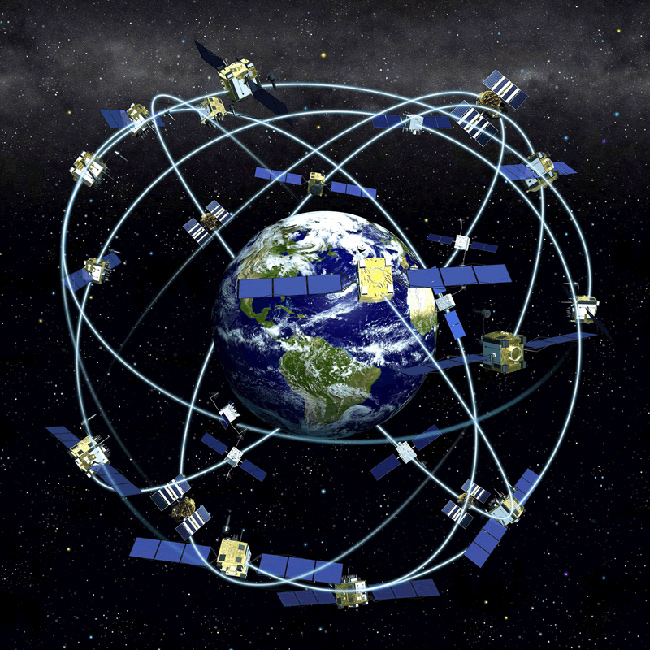 graphic showing earth and a constellation of GPS satellites