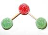 One green (nitrogen) gumdrop joined by half-toothpicks to two red (oxygen) gumdrops.