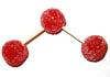 Three red (oxygen) gumdrops joined by two half-toothpicks.