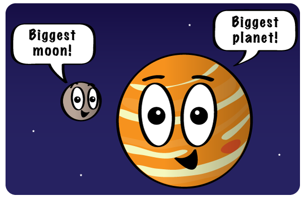 Jupiter is the biggest planet and has the biggest moon, Ganymede. Cartoon illustration.