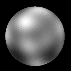 Pluto appears as a nearly featureless gray sphere, with blurry lighter and darker areas.