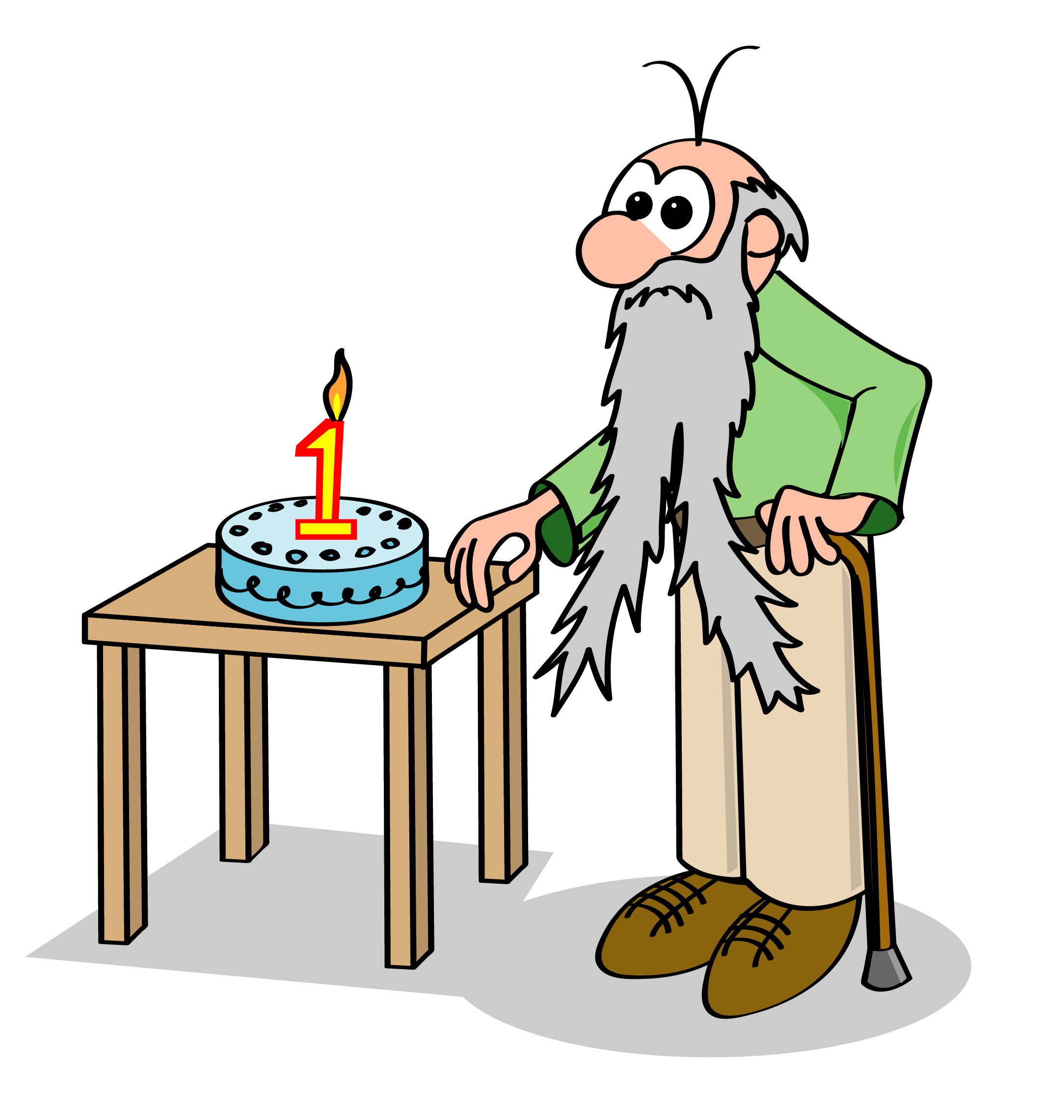 Old man with long gray beard blows out the one candle on his first birthday cake.