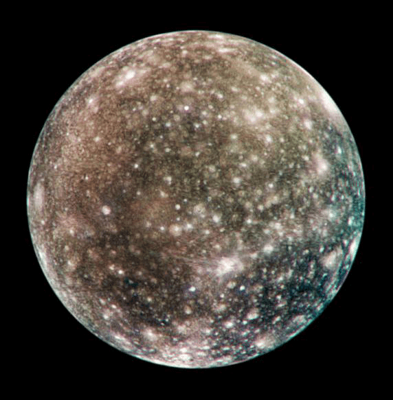 An image of Jupiter's moon Callisto taken by NASA's Galileo spacecraft.