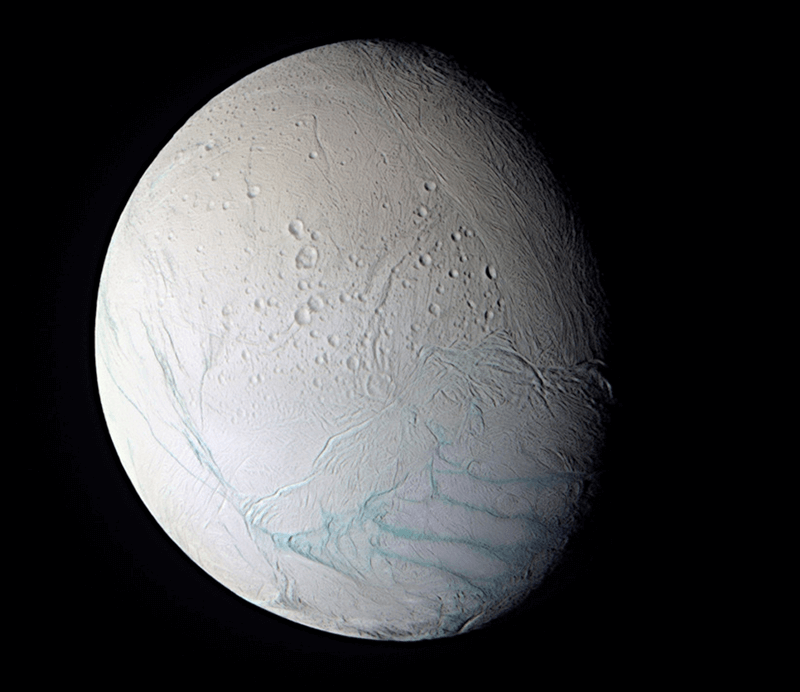 Saturn's icy moon Enceladus as viewed from NASA's Cassini spacecraft.
