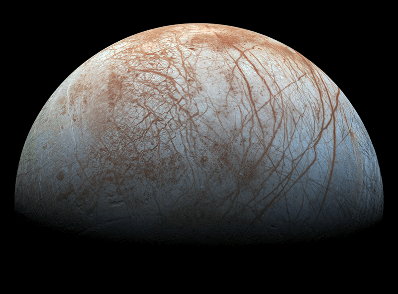 An image of Jupiter's moon Europa taken by NASA's Galileo spacecraft.