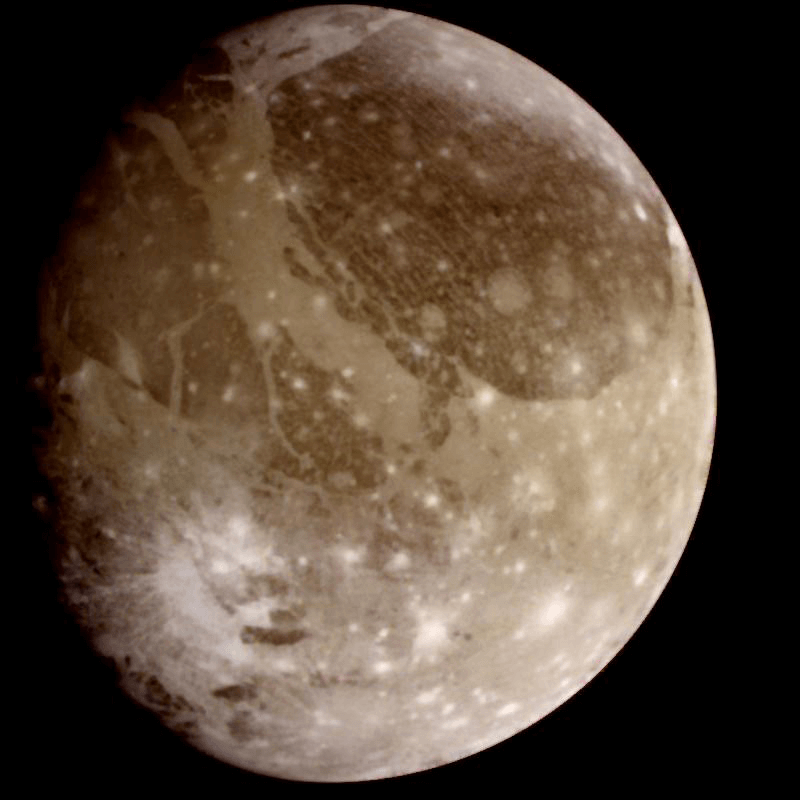 An image of Jupiter's moon Ganymede taken by NASA's Galileo spacecraft.